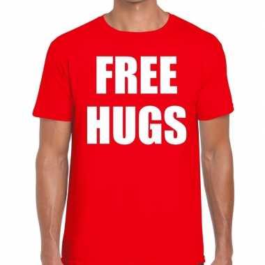Free hugs fun t-shirt rood voor heren