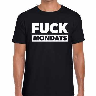 Fuck mondays fun t-shirt zwart voor heren