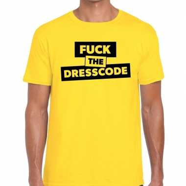 Fuck the dresscode fun t-shirt geel voor heren