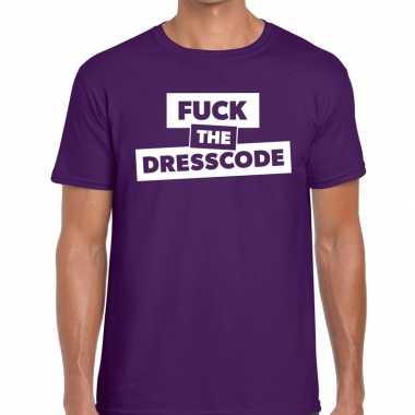 Fuck the dresscode fun t-shirt paars voor heren