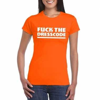 Fuck the dresscode fun t-shirt voor dames oranje