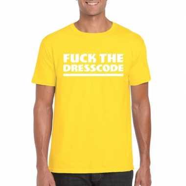 Fuck the dresscode fun t-shirt voor heren geel