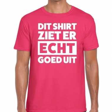Fun t-shirt dit shirt ziet er echt goed uit roze voor heren