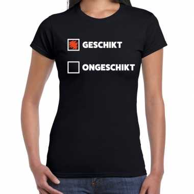 Fun t-shirt geschikt - ongeschikt zwart voor dames