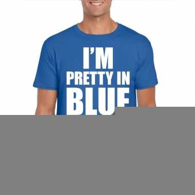 Fun t-shirt i am pretty in blue blauw voor heren