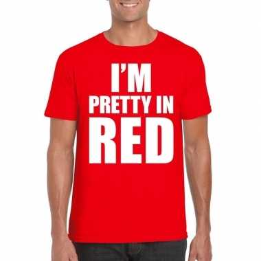 Fun t-shirt i am pretty in red rood voor heren