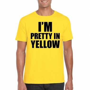 Fun t-shirt i am pretty in yellow geel voor heren