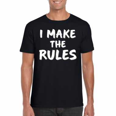 Fun t-shirt i make the rules zwart voor heren