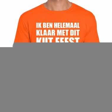 Fun t-shirt ik ben helemaal klaar met dit kut feest oranje voor heren