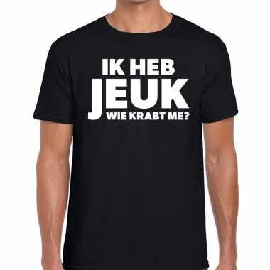 Fun t-shirt ik heb jeuk wie krabt me zwart voor heren
