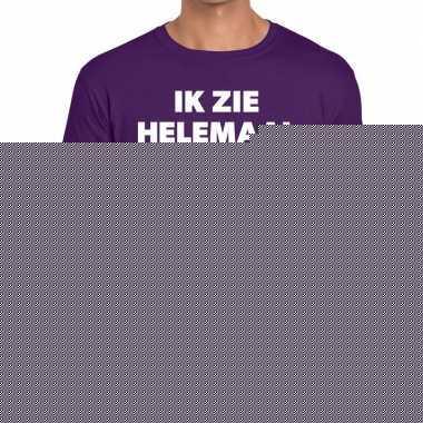 Fun t-shirt ik zie helemaal paars voor heren