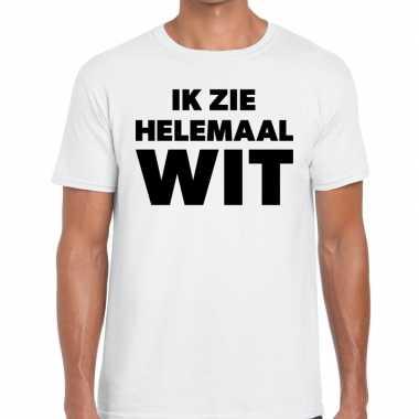 Fun t-shirt ik zie helemaal wit voor heren