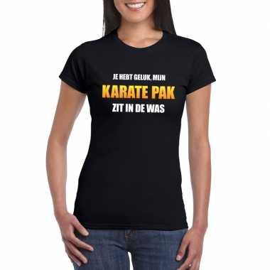 Fun t-shirt karatepak in de was zwart voor dames
