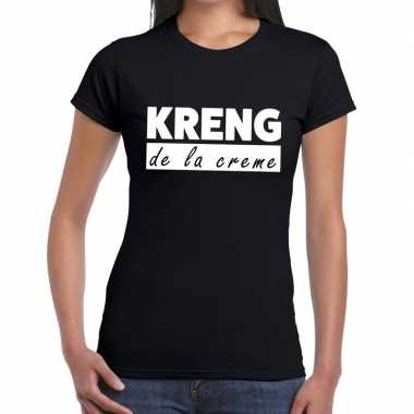 Fun t-shirt kreng de la creme zwart voor dames