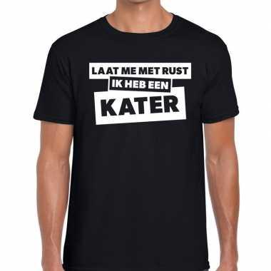 Fun t-shirt laat me met rust ik heb een kater zwart voor heren