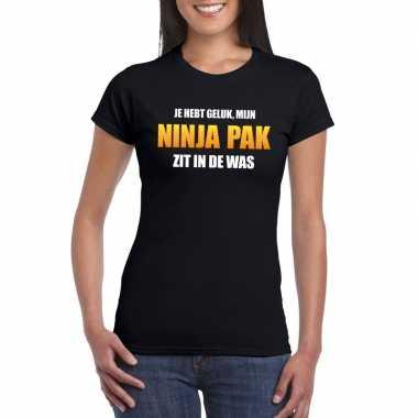 Fun t-shirt ninjapak in de was zwart voor dames