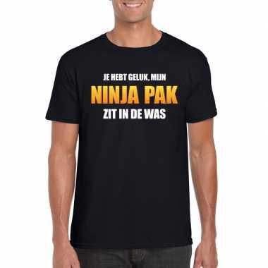 Fun t-shirt ninjapak in de was zwart voor heren