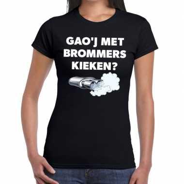 Gaoj met brommers kieken zwarte cross achterhoek t-shirt zwart voor d