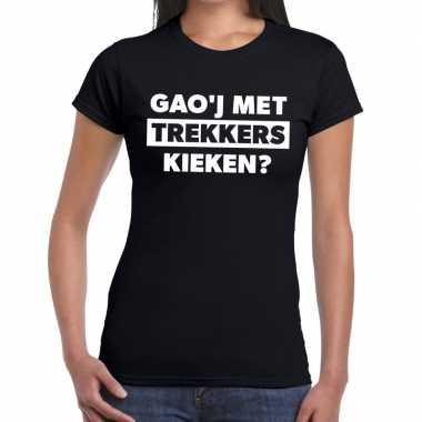Gaoj met trekkers kieken zwarte cross t-shirt zwart voor dames