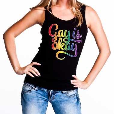 Gay is okay gaypride rainbow tanktop zwart dames