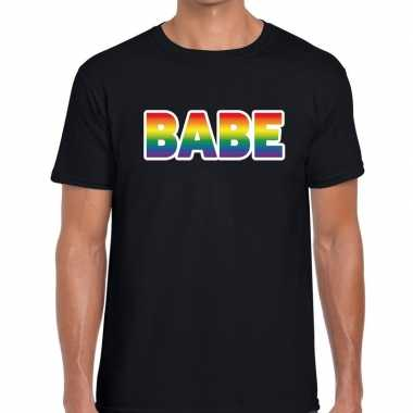 Gay pride babe tekst/fun shirt zwart heren