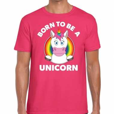 Gay pride born to be a unicorn t-shirt roze heren