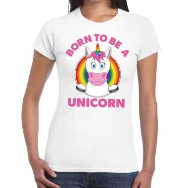 Gay pride born to be a unicorn t-shirt wit dames