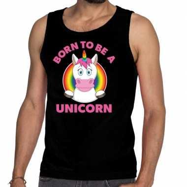 Gay pride born to be a unicorn tanktop zwart heren