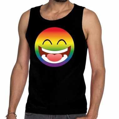 Gay pride emoji tanktop zwart heren