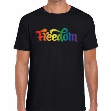 Gay pride freedom shirt zwart heren
