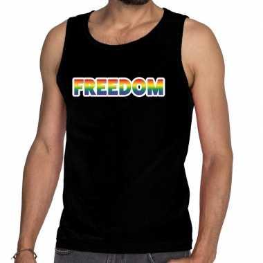 Gay pride freedom tanktop zwart voor heren