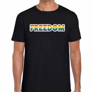 Gay pride freedom tekst shirt zwart heren