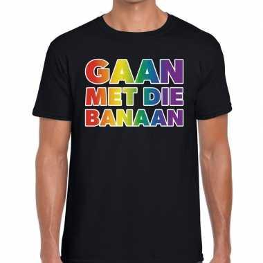 Gay pride gaan met die banaan shirt zwart heren