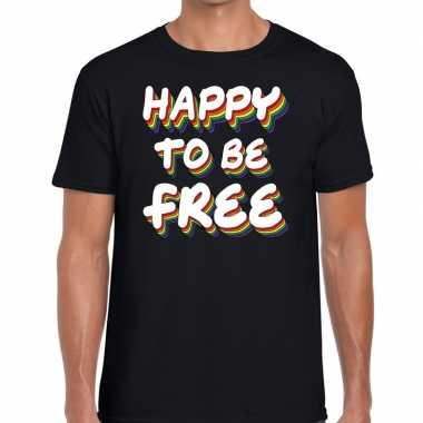 Gay pride happy to be free shirt zwart heren