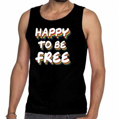 Gay pride happy to be free tanktop zwart heren