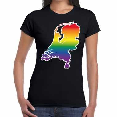 Gay pride holland shirt zwart dames
