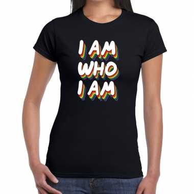 Gay pride i am who i am shirt zwart dames