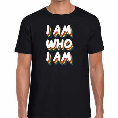 Gay pride i am who i am shirt zwart heren