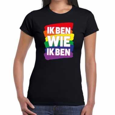 Gay pride ik ben wie ik ben shirt zwart dames