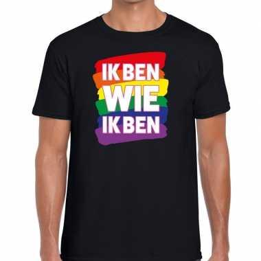 Gay pride ik ben wie ik ben shirt zwart heren