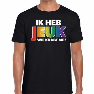 Gay pride ik heb jeuk wie krabt me shirt zwart heren