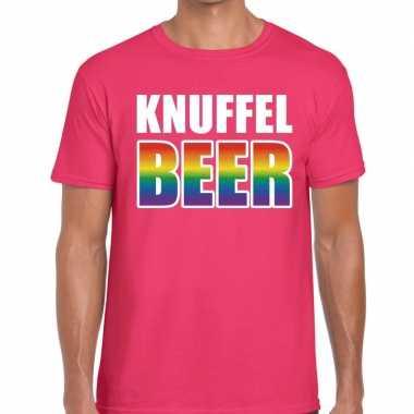 Gay pride knuffel beer shirt roze heren