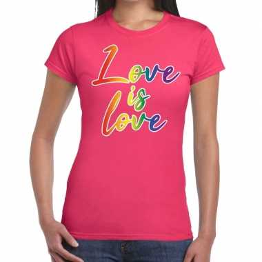 Gay pride love is love regenboog shirt roze dames