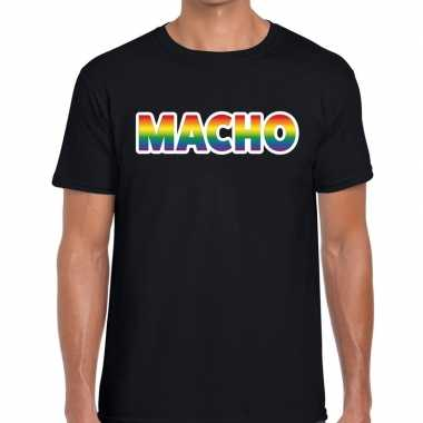 Gay pride macho tekst/fun shirt zwart heren