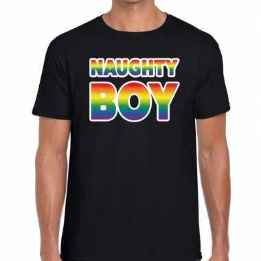 Gay pride naughty boy pride tekst/fun shirt zwart heren