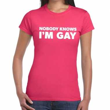 Gay pride nobody knows i am gay shirt roze dames