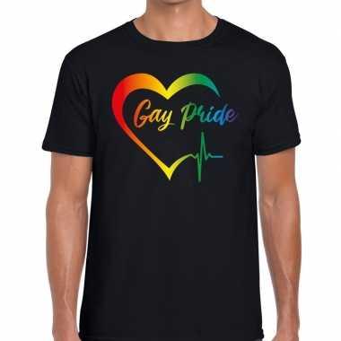 Gay pride peace shirt zwart heren