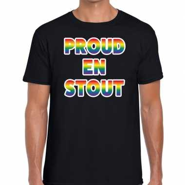 Gay pride proud en stout shirt zwart heren