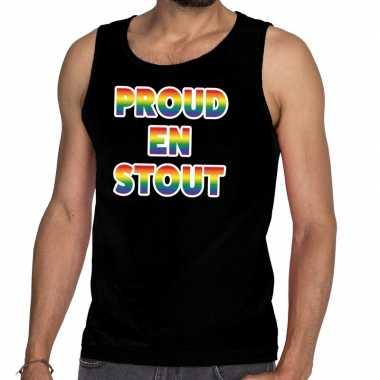 Gay pride proud en stout tanktop zwart heren