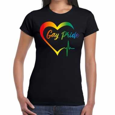 Gay pride rainbow fun shirt zwart dames